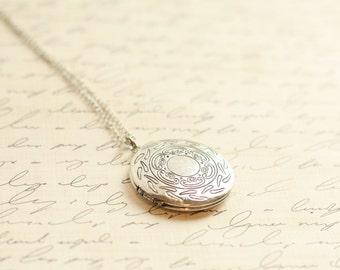 Silver Locket Necklace - A Vintage Simple Antique Silver Locket Necklace - Bridesmaid Locket Necklace - Flowergirl Locket Necklace