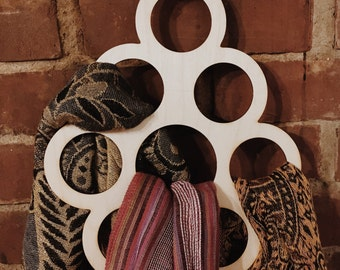 Scarf Hanger, Laser Cut Wooden Circles Scarf Hanger, Scarf or Neck Tie Organizer for you Closet