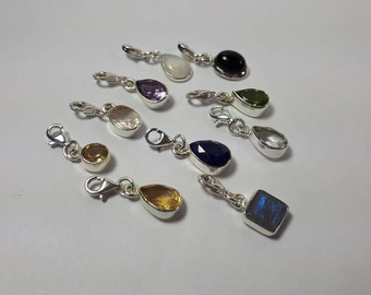 Faceted amethyst charm, purple, teardrop, lobster lock, 92.5 sterling silver