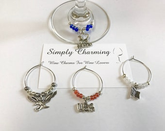 USA Military Soldier Wine Charms