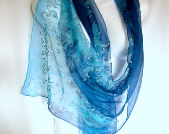 "Blue Silk Scarf, Hand Painted Silk Scarf, Ice Blue Dark Blue, Cool Fire Flames, Art Deco Inspired, 71"" Silk Chiffon Scarf CUSTOM ORDER,"