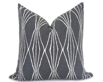 Mid Century Modern Pillow Cover - Charcoal Pillow - Decorative Pillow - Modern Pillow - Geometric Pillow - Gray Pillow - Designer Pillow