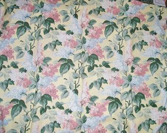 """Vintage 2 yd DÉCOR FABRIC Cotton Linen Lilac Bouquet 48"""" x 72"""" Salmon Blue Green"""