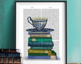 Book lover gift - Teacup & Books - Cup of tea lover cup of coffee lover book nerd library print bookworm gift for book lover teal room decor