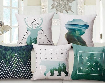 Green NORDIC style decoration pillow cover made of cotton and linen