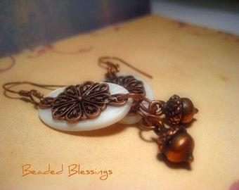 Abalone and Bronze Autumn Acorn Earrings