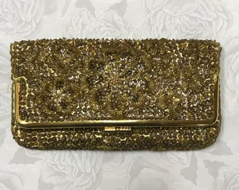 60s Gold Sequin Bead Folding Clutch Evening Purse Handbag