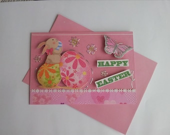 Easter, pink, Bunny, eggs, butterfly card