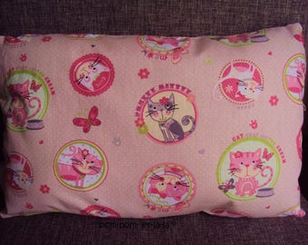 small rectangular cushion 33 x 22 theme pink kittens