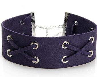 Dark Purple or Grey Gothic Punk Velvet/Leather Lace-up Choker Necklace