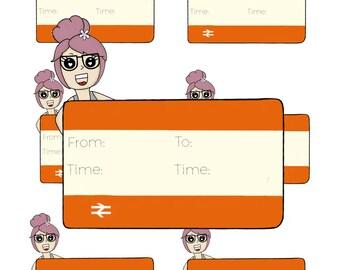 Digital Download - Train Girl stickers - Beau