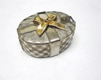 Oval Silver Jewelry Box Trinket Keepsake Brass Bow
