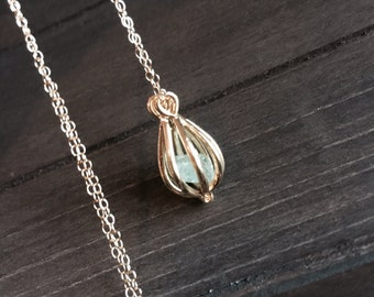 SALE - Necklace with Apatite Stone in Gold Cage