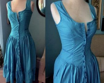 VTG 80's Foxy Lady cotton sundress aqua thin cotton prairie tiered ruffle size 4 small