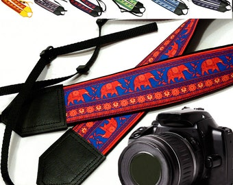 Lucky Elephant camera strap. Ethnic camera strap. DSLR / SLR padded camera strap with animal pattern. Great gift for photographer by InTePro