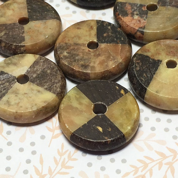 Geometric Black and Tan Natural Stone Round Disc Beads 23 mm, 6 mm thick 19 beads