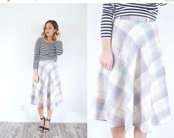 15% OFF MEMORIAL DAY sale Plaid pastel wool skirt // classic 50's skirt // summer plaid skirt // boho skirt // modest skirt // small skirt /