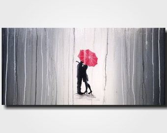 Art  Large Abstract painting  -  original 18 X 36 -  JMJartstudio- Waiting-Wall art- black and white fathers day gift