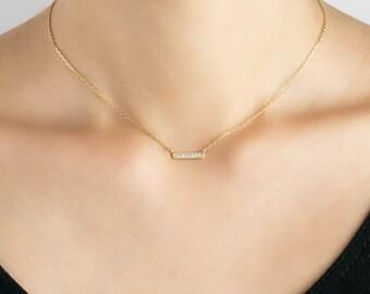 Diamond pave bar necklace, 14k gold, rose gold, white gold,dainty bar necklace,diamond bar necklace, simple necklace