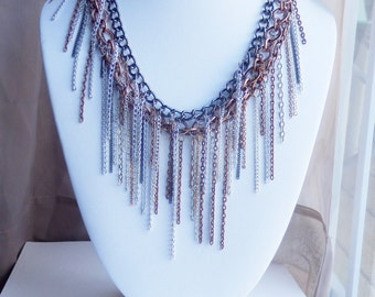 Statement necklace, silver statement necklace, fringe necklace, biker jewelry, metal jewelry, costume jewelry, sons of anarchy jewelry, gift