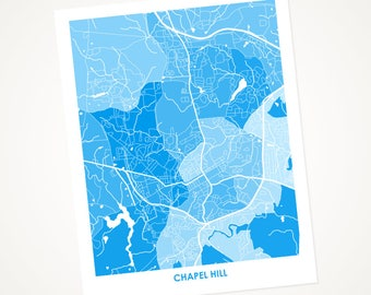 Chapel Hill Map Print.  Choose the colors and size.  Perfect for your favorite UNC Tar Heel.  University of North Carolina Art.