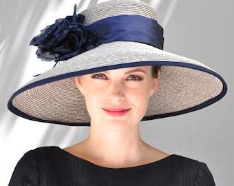 Derby Hat, Wedding Hat, Navy Wide Brim Hat, Ascot Hat, Formal Hat