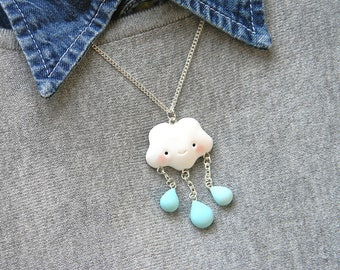 Kawaii Cloud and rain Necklace