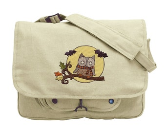 Night Fliers Embroidered Canvas Messenger Bag