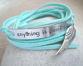 Personalized quote Bracelet, Motivational Bracelet, All is possible, Angel wing, gift friend, inspirational bracelet, Sky is no limit, BFF