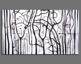 Abstract painting, Black and White Painting,  Black and White Abstract Modern Painting Large Size 195x114 cm / 76,7x44,8 inches