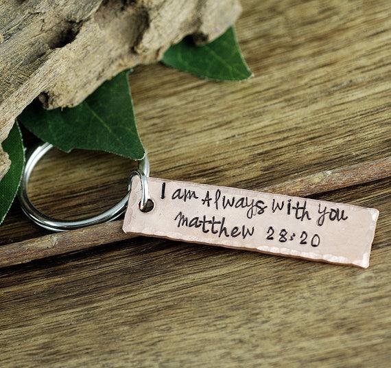 Graduation KeyChain, Personalized Keychain, Inspirational Keychain, Bible Verse keychain, Gift for her, I am Always with you, Matthew 28 20