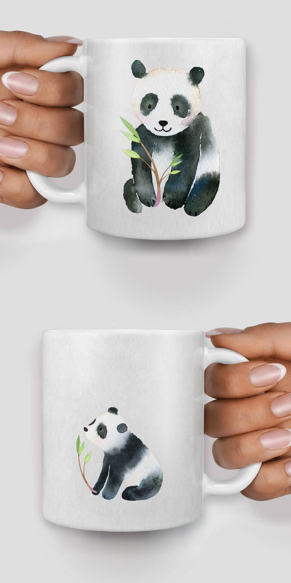 Cute pandas watercolor mug - Christmas mug - Funny mug - Rude mug - Mug cup 4P110