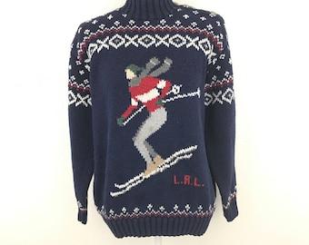 Vintage Lauren Ralph Lauren Medium Ski Sweater Intarsia 90s Linen Cotton Navy Women