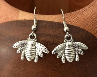 Silver bees, silver plated clip on earrings bee earrings