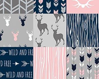 Rustic Girl Bedding Set, Woodland Baby Quilt, Pink Navy Grey Gray Deer, Nursery Crib Bedding Set, Baby Girl Blanket, Pink Mink Baby Blanket