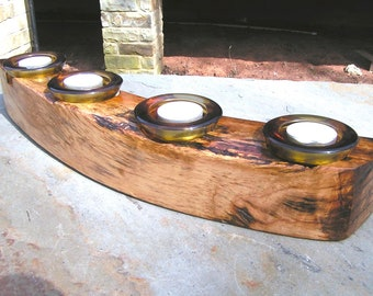 Oak firewood log candle holder with 4 amber glass tealight votives candles 0334