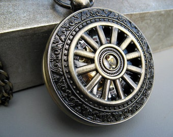 1882's Bronze Pocket Watch, Watch Chain, Mechanical Watch, Engravable, Men's Watch, Bronze and Black Watch, Gift Boxed - Item MPW773