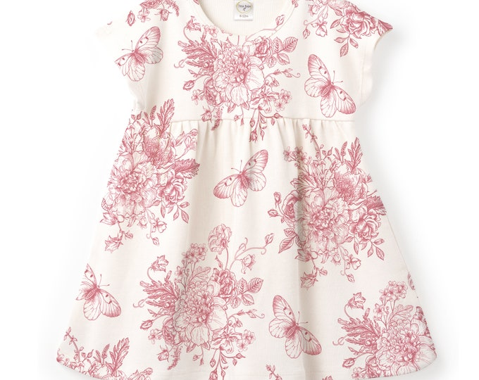 Baby Summer Dress, Baby Girl Rose Dress, Infant Girl Pink Floral Dress, Newborn Baby Girl Pink Rose Outfit, Red Rose Flowers Tesababe