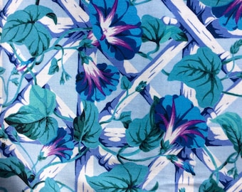 Philip Jacobs OOP, rare Kaffe Fassett collective, Morning Glory, blue, half yard floral fabric