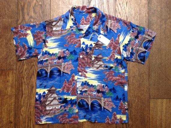 "Vintage 1950s 50s silk rayon Hawaiian shirt short sleeves Japanese garden print loop collar rockabilly Tiki 41"" chest"