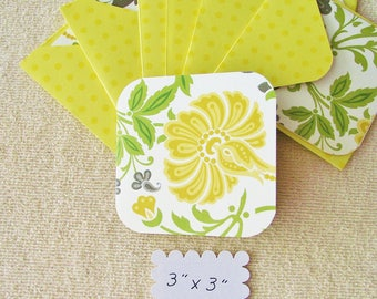 "8 -  3"" -Flowered Mini Note Cards/Gift Cards with envelopes - Free Secondary Shipping"