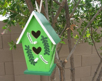 BIRDHOUSE-DECORATIVE GREEN - Hand Painted