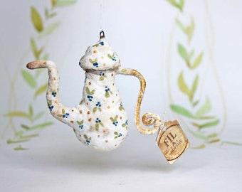 Miniatur Teekanne Nostalgischer Christbaumschmuck Wattefigur Ornament Spun Cotton