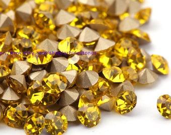 Yellow Chaton pointed back rhinestones 2mm 3mm 4mm