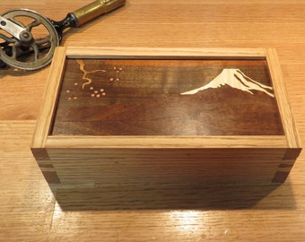 Mt Fuji Marquetry Box