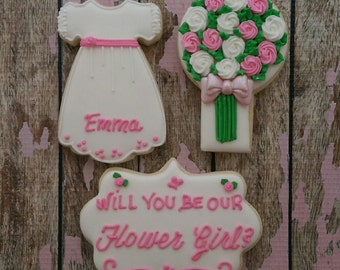 Will You Be My Flower Girl Will You Be My Bridesmaid Will You Be My Maid Of Honor Decorated Wedding Cookies,  Cookie Favor