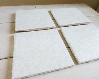 Green bath tiles, set of four, vintage bath tiles, DIY, home remodel, upcycle, repurpose, porcelain tiles, cute tiles