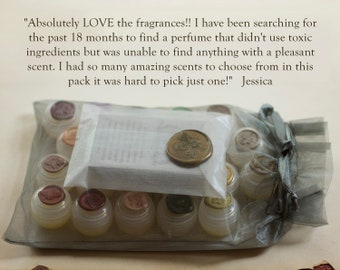 All Natural Botanical Solid Perfume Sample Set of Twenty, A scent adventure experience, perfect for the nature girl, Zen kit gift set