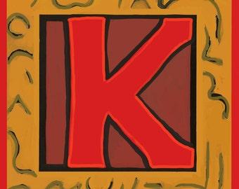 Alphabet letter K