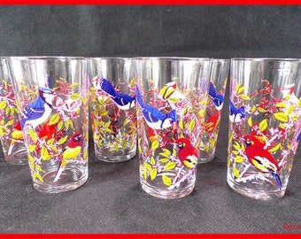 Vintage 6 glasses vintage decor serving birds has lemonade vintage France